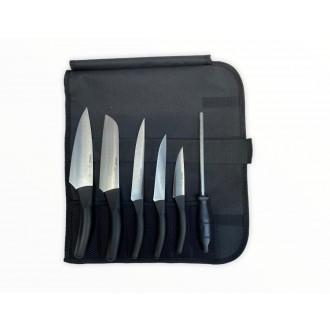 Pirge Deluxe Çantalı Santoku Şef Bıçak Seti (7 Parça)